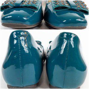 Nurture by Lamaze Shoes - Nurture Flats Teal Patent Leather Studded Bow 10M